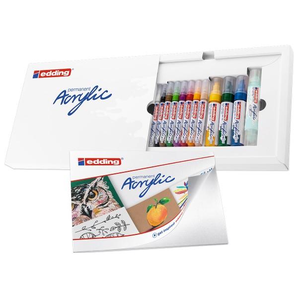 Set de marqueurs Acrylic Edding - Pack Créatif Basic - 12 pcs - Photo n°2