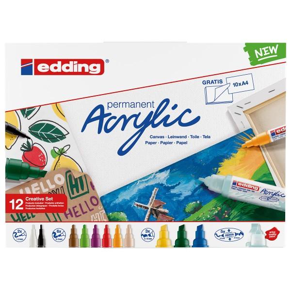 Set de marqueurs Acrylic Edding - Pack Créatif Basic - 12 pcs - Photo n°1