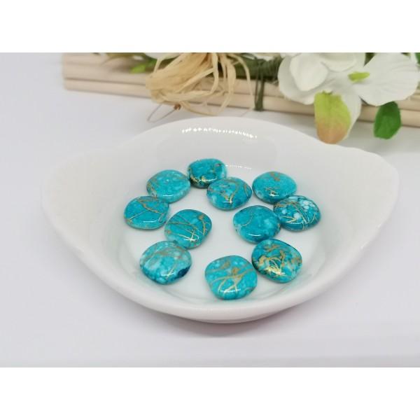 Perles acrylique carré plat bleu tréfilé doré 12 mm x 10 - Photo n°2