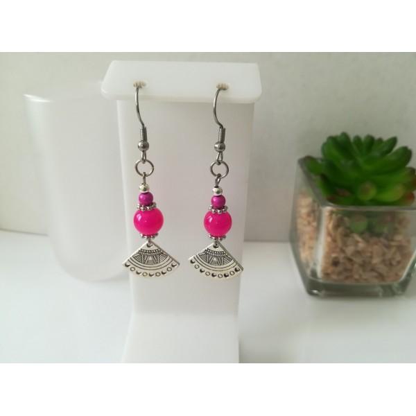 Kit boucles d'oreilles apprêts argent mat et perles en verre fuchsia - Photo n°1