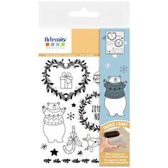 Tampons transparents - Beary Christmas - De 0,9 à 8 cm - 16 pcs