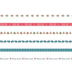 Ruban imprimé fantaisie - Beary Christmas - 1 cm x 1 m - 6 pcs