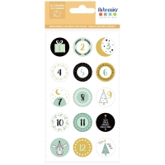 Stickers Calendrier de l'Avent - Imagine Christmas - Ø 2,5 cm - 60 pcs