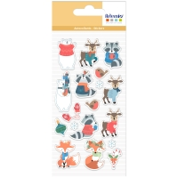 Stickers Puffies Noël - Beary Christmas - Personnages - 18 pcs