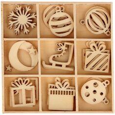 Mini silhouettes en bois - Imagine Christmas - 2,5 cm - 27 pcs