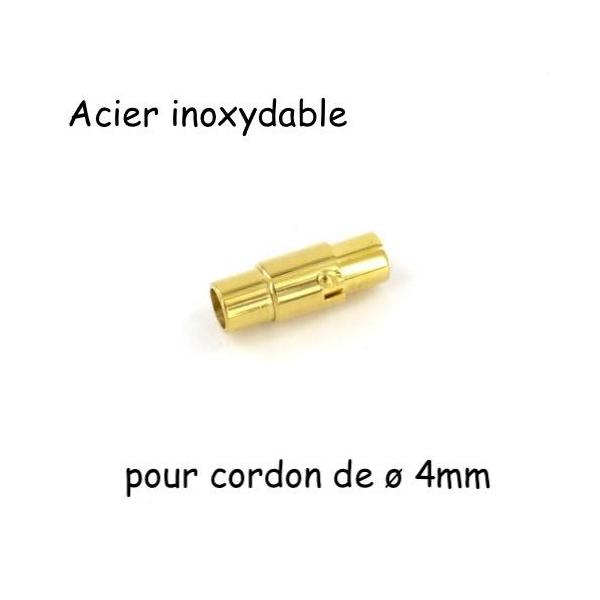 Fermoir Aimanté Doré Pour Cordon De 4mm En Acier Inoxydable - Photo n°1