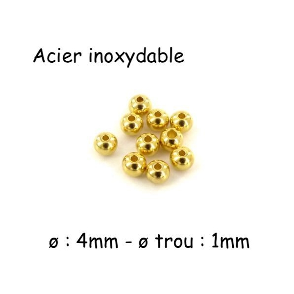 10 Perles Ronde 4mm En Acier Inoxydable Doré - Photo n°1
