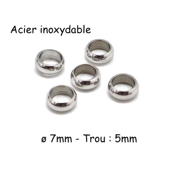 10 Perles Intercalaire 7mm À Gros Trou En Acier Inoxydable Argenté - Rondelle Donut 7mm X 2mm - Photo n°1
