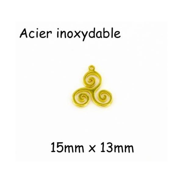 2 Breloques Triskel Style Celtique Doré En Acier Inoxydable - Photo n°1