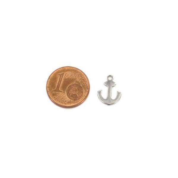 10 Petites Breloques Ancre Marine Argenté En Acier Inoxydable 12mm - Photo n°2
