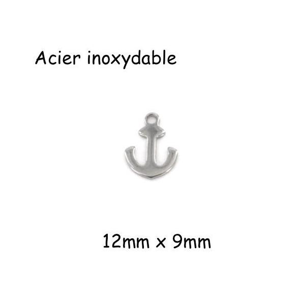 10 Petites Breloques Ancre Marine Argenté En Acier Inoxydable 12mm - Photo n°1