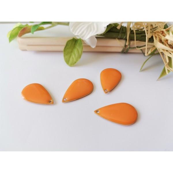 Breloque sequin émail goutte orange x 2 - Photo n°1