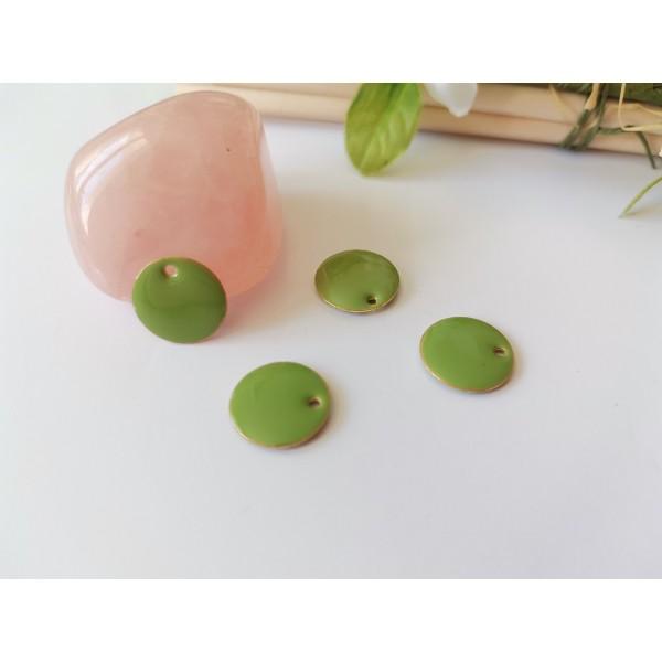 Breloque sequin émail rond 12 mm vert olive x 2 - Photo n°1