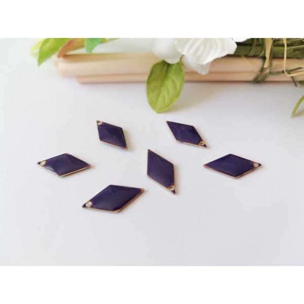 Breloque sequin émail losange 16 x 8 mm violet foncé x 2 - Photo n°1