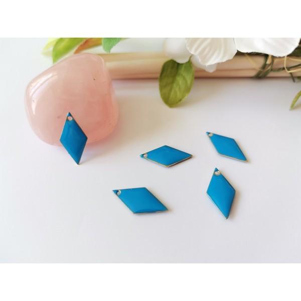 Breloque sequin émail losange 16 x 8 mm bleu x 2 - Photo n°1