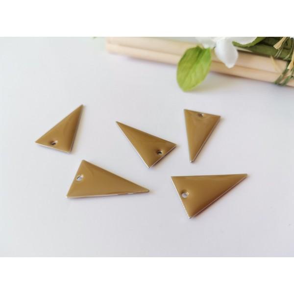 Breloque sequin émail triangle 22 x 13 mm marron clair x 2 - Photo n°1