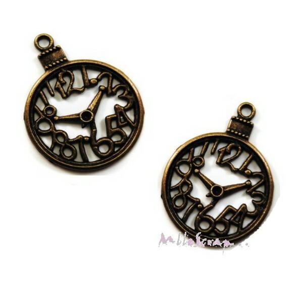 Breloques pendules métal bronze - 2 pièces - Photo n°1