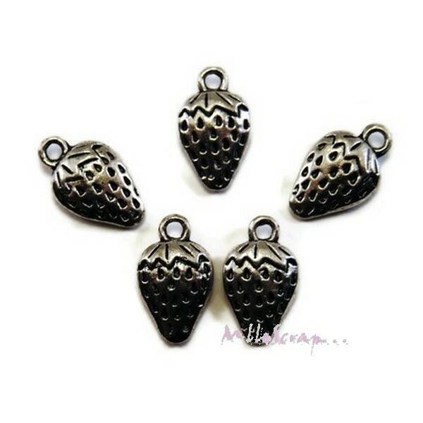 Breloques fraises métal argenté - 5 pièces - Photo n°1