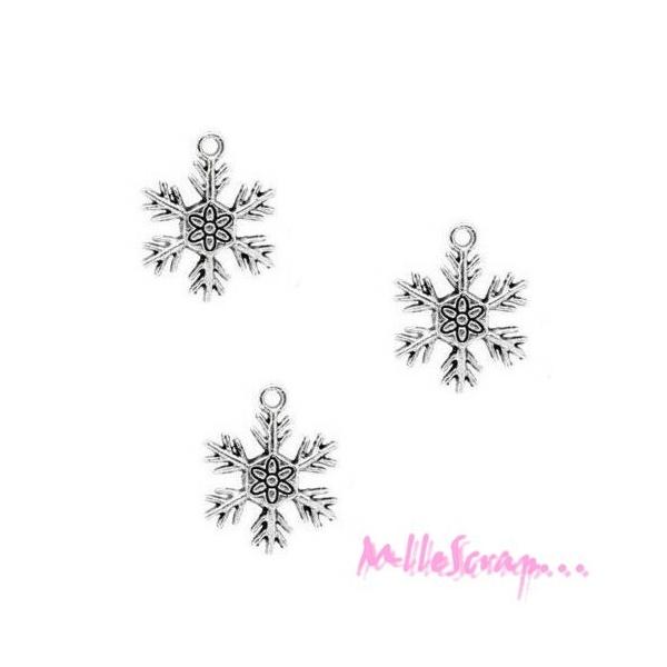 Breloques flocons de neige métal argenté - 5 pièces - Photo n°1