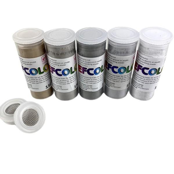 Set 5 couleurs Poudre Efcolor 10 ml, nuancier gris, 2 tamis, pour émaillage à froid, cuisson à 150°C - Photo n°1