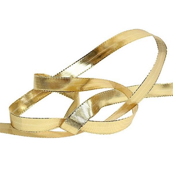 Ruban lamé doré de 1,5 cm de large, bords armés laitonnés, Rouleau de 25 mètres - Photo n°2