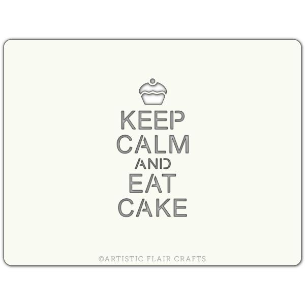 Pochoir pour pâtisseries et chocolats -  motif keep calm and eat cake - Photo n°1