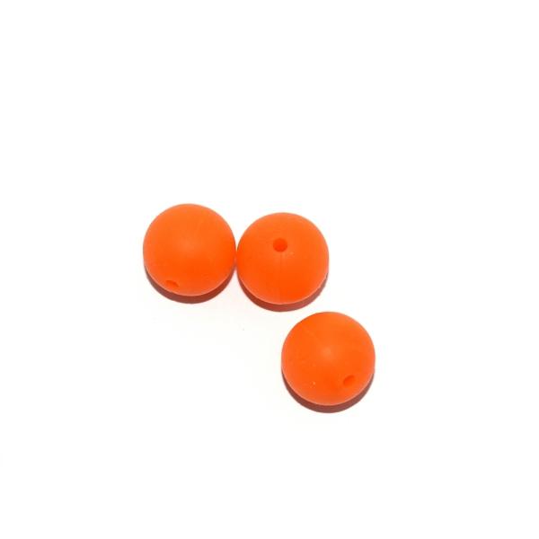 Perle ronde 15 mm silicone orange - Photo n°1