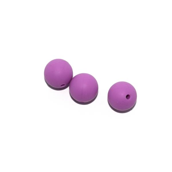Perle ronde 15 mm silicone violet foncé - Photo n°1