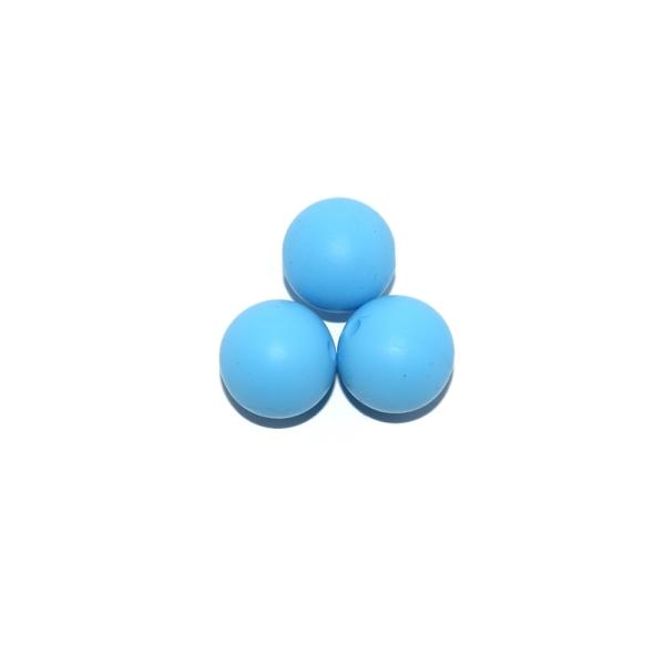 Perle ronde 15 mm silicone bleu moyen - Photo n°1