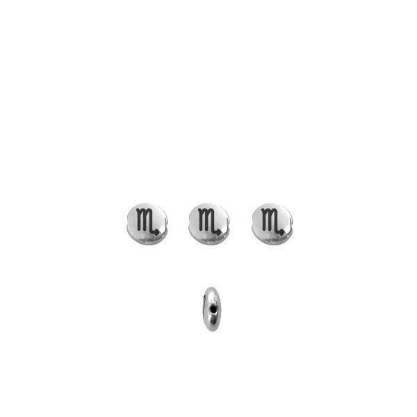Perle signe du zodiaque métal argenté 8mm Scorpion - Photo n°1