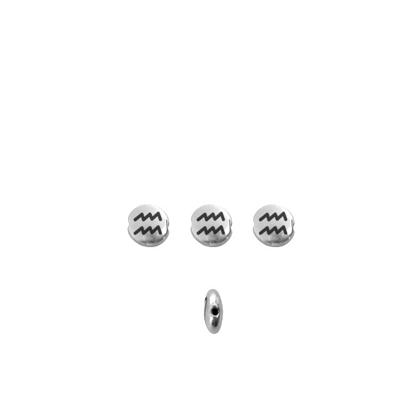 Perle signe du zodiaque métal argenté 8mm Verseau - Photo n°1