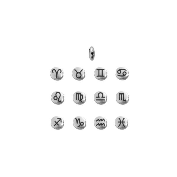 Perle signe du zodiaque métal argenté 8mm Poissons - Photo n°3