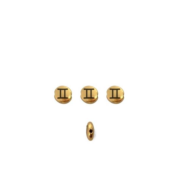 Perle ronde aplatie gravé signe astrologique Gémeaux - Photo n°1