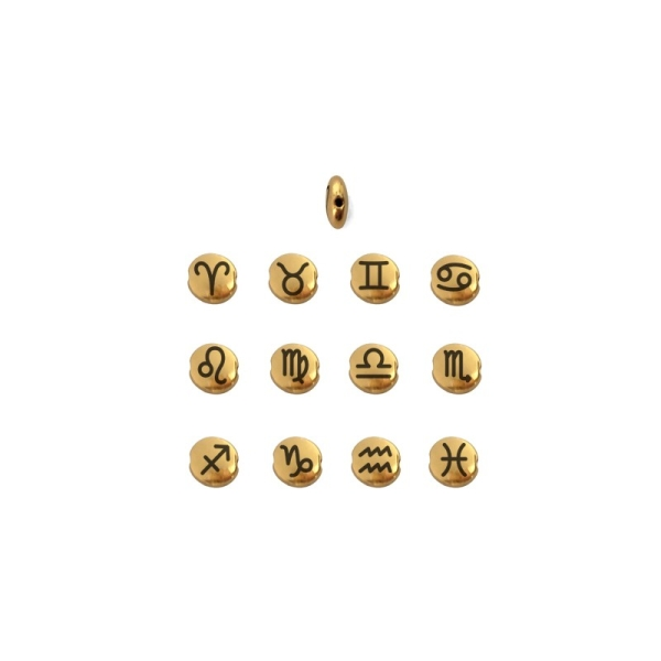 Perle ronde aplatie gravé signe astrologique Vierge métal doré 8mm - Photo n°2