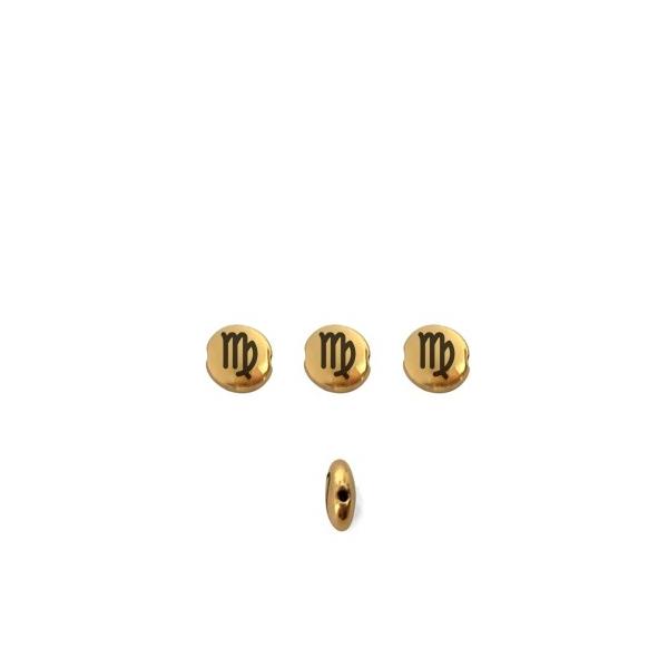 Perle ronde aplatie gravé signe astrologique Vierge métal doré 8mm - Photo n°1