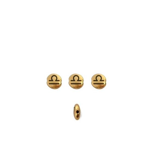 Perle ronde aplatie gravé signe astrologique Balance métal doré 8mm - Photo n°1