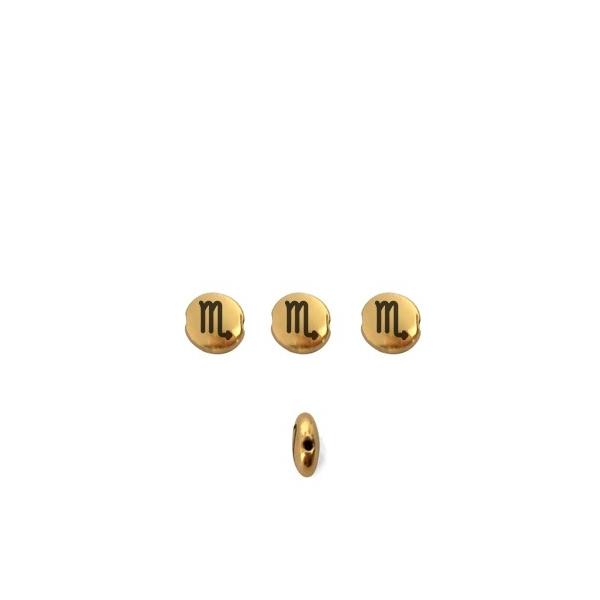 Perle ronde aplatie gravé signe astrologique Scorpion métal doré 8mm - Photo n°1