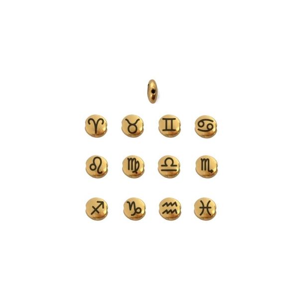 Perle ronde aplatie gravé signe astrologique Verseau métal doré 8mm - Photo n°2