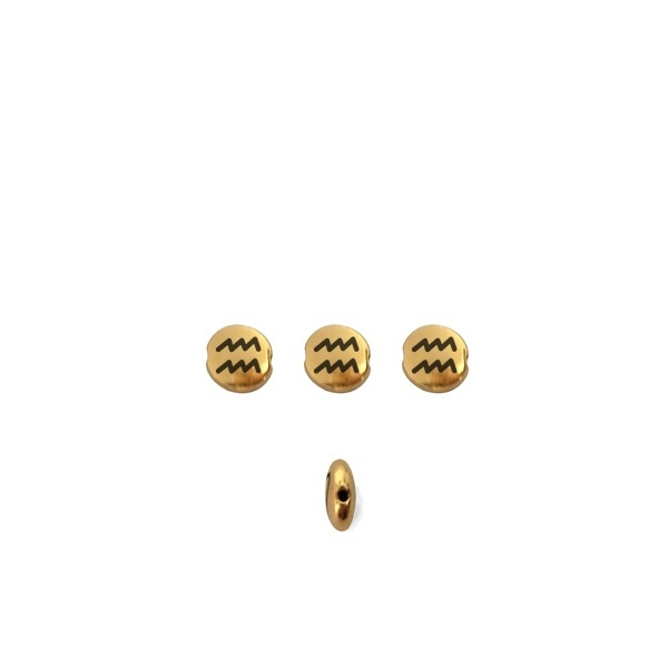 Perle ronde aplatie gravé signe astrologique Verseau métal doré 8mm - Photo n°1