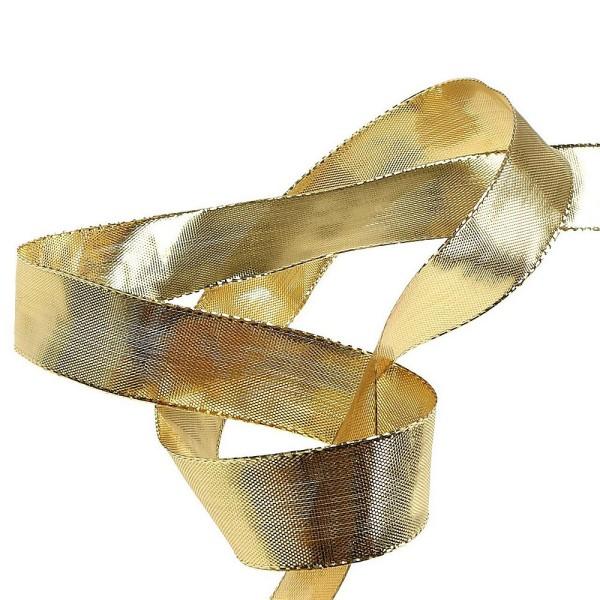 Ruban lamé doré de 2,5 cm de large, bords armés laitonnés, Rouleau de 19 mètres - Photo n°2