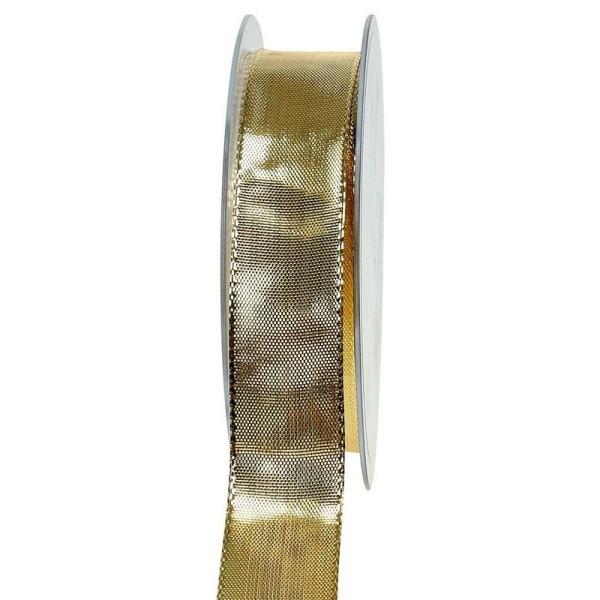 Ruban lamé doré de 2,5 cm de large, bords armés laitonnés, Rouleau de 19 mètres - Photo n°1