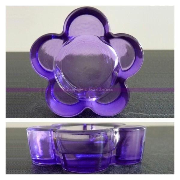 Bougie chauffe-plat en verre//mauve /ø 10 cm