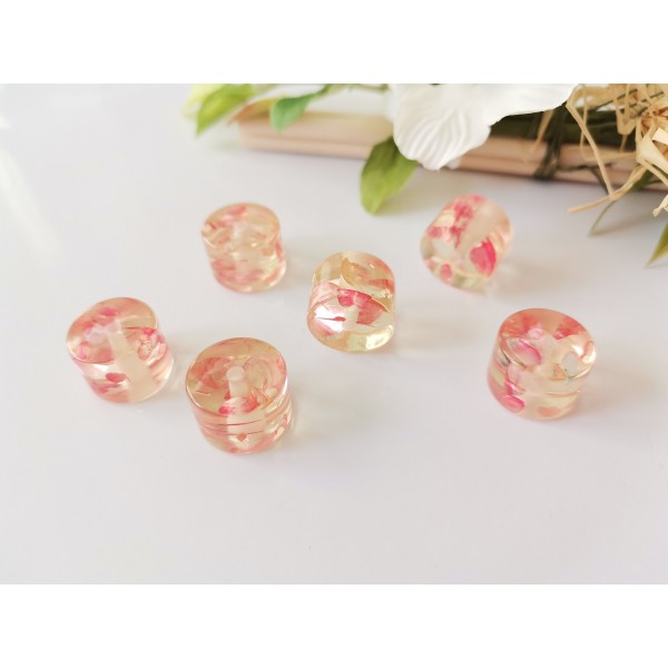 Perles résine imitation ambre 15 x 11 mm rose orangé x 4 - Photo n°1