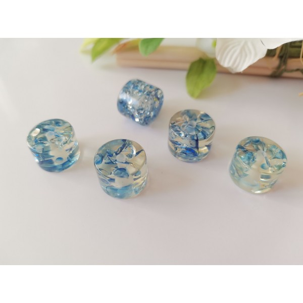Perles résine imitation ambre 15 x 11 mm bleu royal x 4 - Photo n°1