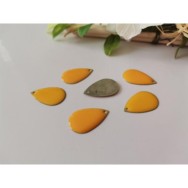 Breloque sequin émail goutte 22 mm orange x 2 - Photo n°1
