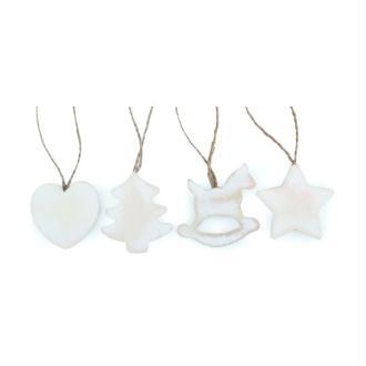 Lot 5 motifs en bois blanchi, Cheval à bascule, étoile, sapin, coeur, dim. 5 cm