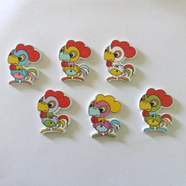 6 Boutons en bois – coq – multicolore - 22x29mm – bri457n3 - Photo n°1