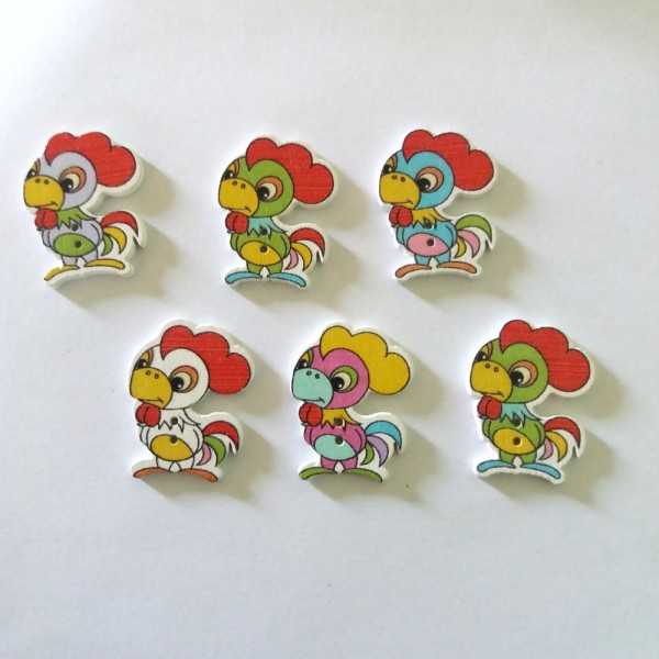 6 Boutons en bois – coq – multicolore - 22x29mm – bri457n4 - Photo n°1
