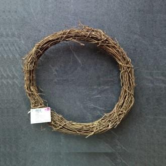 Couronne en sarments de vigne naturels brun, 25cm, épaisseur 3,7cm