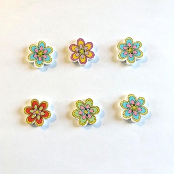 6 Boutons en bois - fleur multicolore - 18mm – bri471N2 - Photo n°1